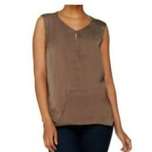 H by Halston Top w/Front Keyhole Detail Wrap Front